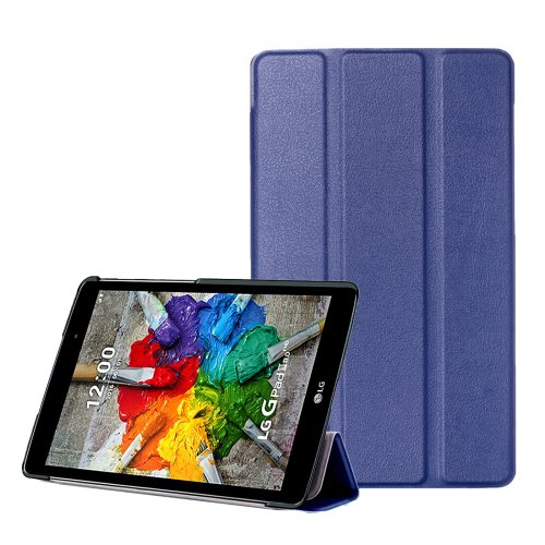 For LG G Pad III 8.0 Dark Blue Custer Flip Leather Case with Three-folding Holder