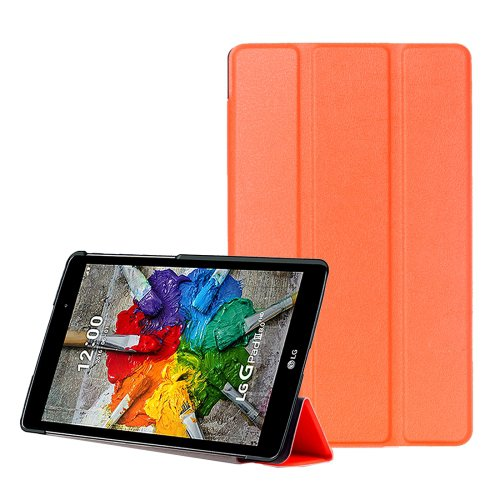 For LG G Pad III 8.0 Orange Custer Flip Leather Case with Three-folding Holder