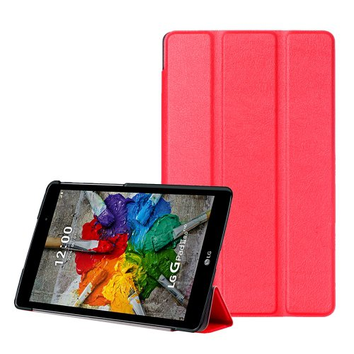 For LG G Pad III 8.0 Red Custer Flip Leather Case with Three-folding Holder