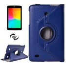 For LG G Pad 7.0 Dark Blue Litchi Flip Leather Case with 2 Gears Rotating Holder