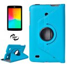 For LG G Pad 7.0 Blue Litchi Flip Leather Case with 2 Gears Rotating Holder