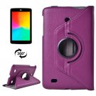 For LG G Pad 7.0 Purple Litchi Flip Leather Case with 2 Gears Rotating Holder