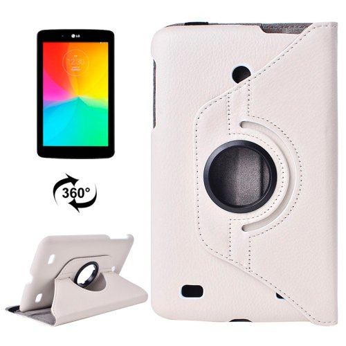 For LG G Pad 7.0 White Litchi Flip Leather Case with 2 Gears Rotating Holder