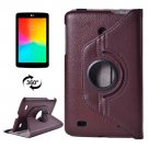 For LG G Pad 7.0 Brown Litchi Flip Leather Case with 2 Gears Rotating Holder