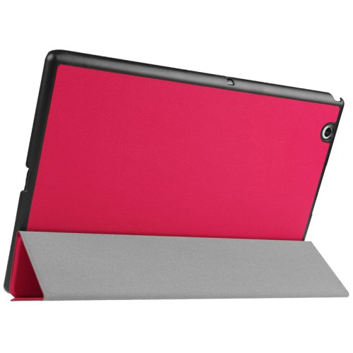 For Sony Xperia Z4 Magenta Karst Flip Leather Case with Three-folding Holder