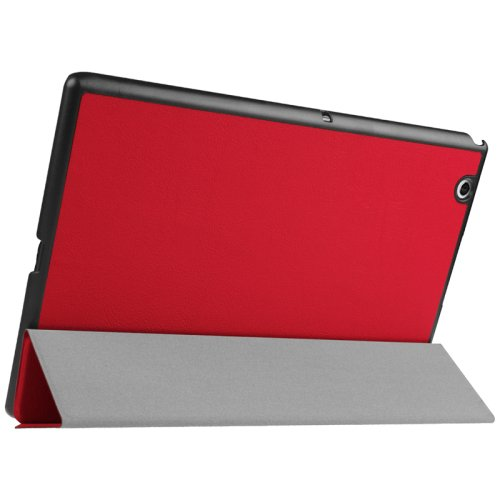 For Sony Xperia Z4 Red Karst Flip Leather Case with Three-folding Holder