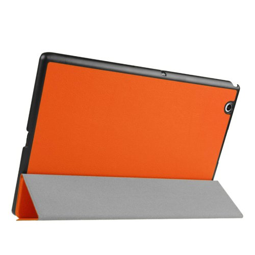 For Sony Xperia Z4 Orange Cross Flip Leather Case with Three-folding Holder