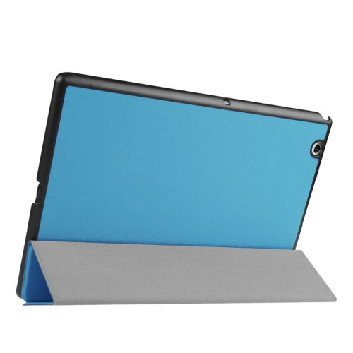 For Sony Xperia Z4 Blue Cross Flip Leather Case with Three-folding Holder