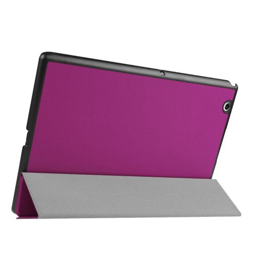 For Sony Xperia Z4 Purple Cross Flip Leather Case with Three-folding Holder