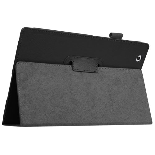 For Sony Xperia Z4 Black Litchi Texture Flip Solid Color Leather Case with Holder