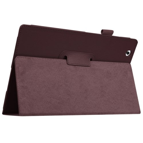 For Sony Xperia Z4 Coffee Litchi Texture Flip Solid Color Leather Case with Holder