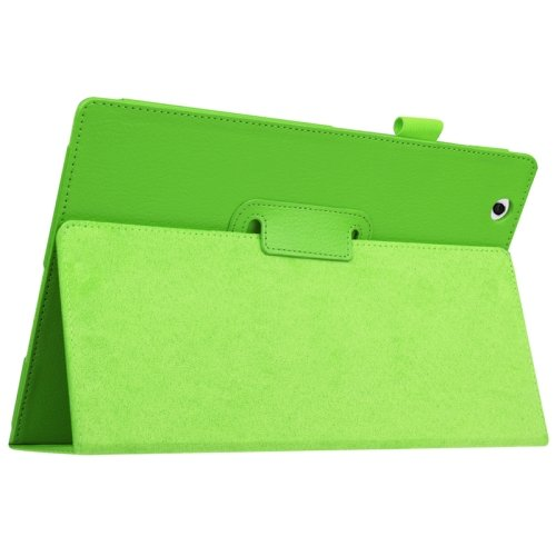 For Sony Xperia Z4 Green Litchi Texture Flip Solid Color Leather Case with Holder