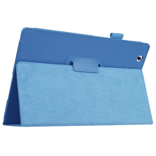 For Sony Xperia Z4 Blue Litchi Texture Flip Solid Color Leather Case with Holder