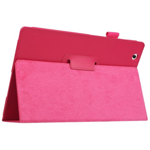 For Sony Xperia Z4 Magenta Litchi Texture Flip Solid Color Leather Case with Holder