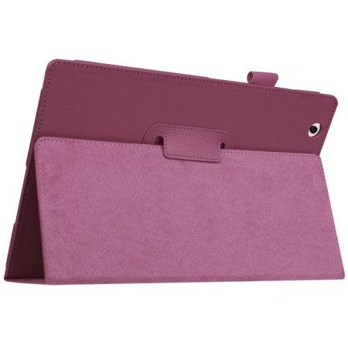 For Sony Xperia Z4 Purple Litchi Texture Flip Solid Color Leather Case with Holder