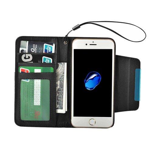 For iPhone 7 Black Detachable Plain Weave Texture Flip PU Leather Case