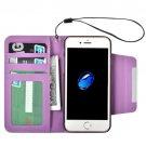 For iPhone 7 Purple Detachable Plain Weave Texture Flip PU Leather Case