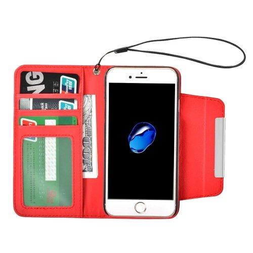 For iPhone 7 Red Detachable Plain Weave Texture Flip PU Leather Case