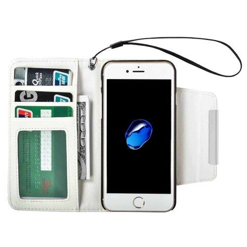 For iPhone 7 White Detachable Plain Weave Texture Flip PU Leather Case
