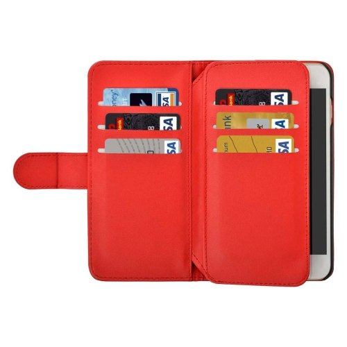 For iPhone 7 Plus Red Flip Leather Case with Card Slots, Wallet & Lanyard