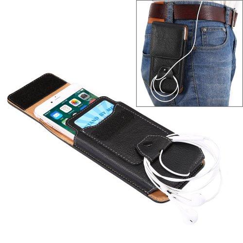 For iPhone 7 Plus Black Flip Retro Elephant Texture Leather Case & Buckle, Earphone Hole