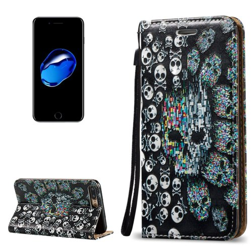 For iPhone 7 Plus 3D Relief Skull Leather Case with Holder, Card Slots & Lanyard