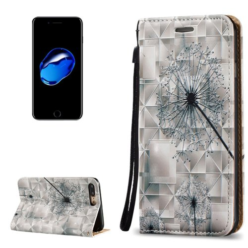 For iPhone 7 Plus 3D Relief Dandelion Leather Case with Holder, Card Slots & Lanyard