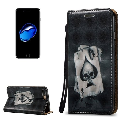 For iPhone 7 Plus 3D Relief Poker Leather Case with Holder, Card Slots & Lanyard