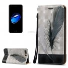 For iPhone 7 Plus 3D Relief Feather Leather Case with Holder, Card Slots & Lanyard