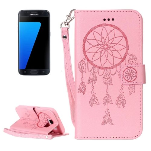 For Galaxy S7/G930 Pink Crazy Horse Leather Case with Holder, Card Slots, Wallet & Lanyard