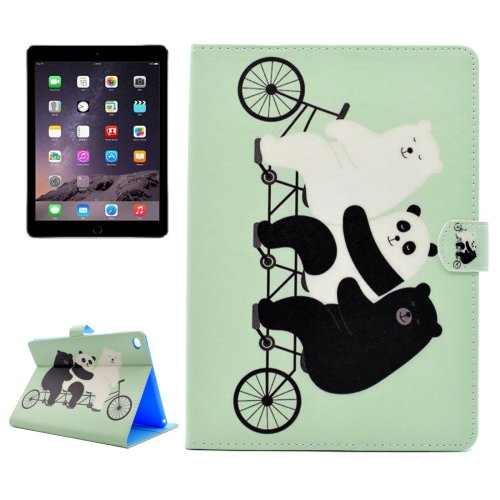 For iPad Air 2/iPad 6 Cute Bear Pattern Flip Leather Case with Holder, Card Slots & Wallet