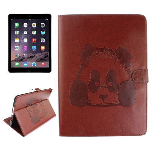 For iPad Air 2/iPad 6 Coffee Embossed Panda Leather Case with Holder, Card Slots & Wallet