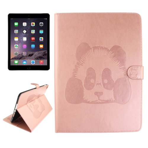 For iPad Air 2/iPad 6 Pink Embossed Panda Leather Case with Holder, Card Slots & Wallet