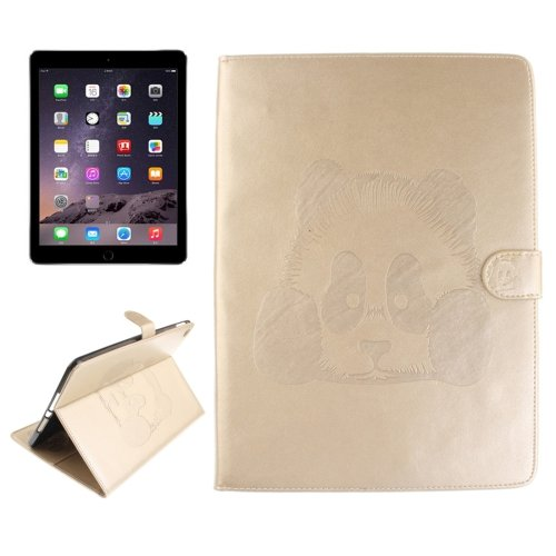 For iPad Air 2/iPad 6 Gold Embossed Panda Leather Case with Holder, Card Slots & Wallet