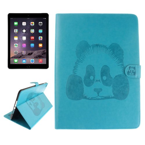 For iPad Air 2/iPad 6 Blue Embossed Panda Leather Case with Holder, Card Slots & Wallet