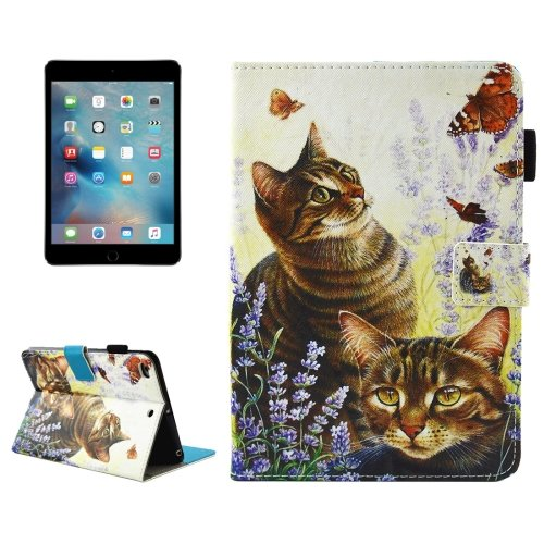 For iPad Mini 4/3/2/1 Cats Smart Cover Leather Case with Holder, Card/Pen Slots & Wallet