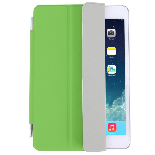 For iPad Mini 4 Green Single Side Polyurethane Smart Cover with 3-Folding Holder