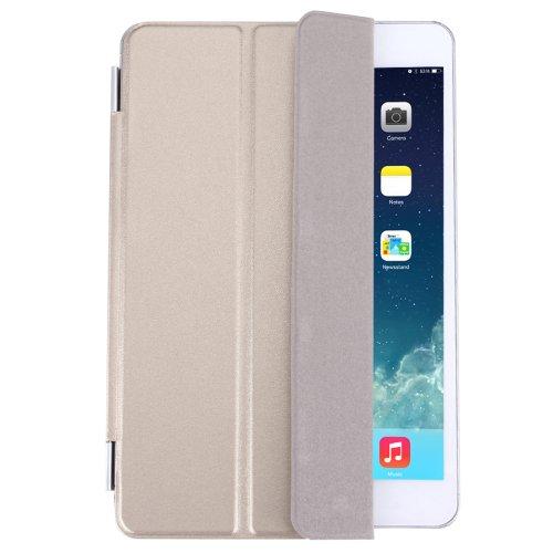 For iPad Mini 4 Gold Single Side Polyurethane Smart Cover with 3-Folding Holder