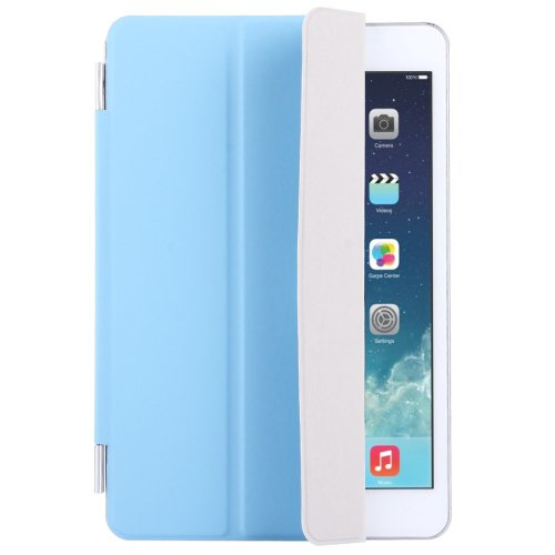 For iPad Mini 4 Blue Single Side Polyurethane Smart Cover with 3-Folding Holder