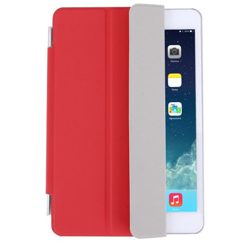 For iPad Mini 4 Red Single Side Polyurethane Smart Cover with 3-Folding Holder