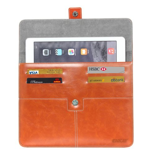 For IPad Mimi ENKAY Casual Commercial Coffee Leather Case with Card Slots