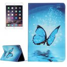 For IPad Mimi 4 Blue Butterfly Pattern Horizontal Flip Leather Case with Holder