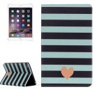 For IPad Mimi 4 Stripe and Heart Pattern Horizontal Flip Leather Case with Holder
