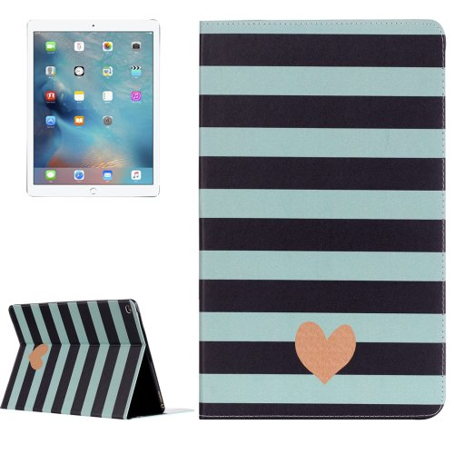 """For iPad Pro 12.9"""" Stripe and Heart Pattern Flip Leather Case with Holder"""