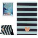 "For iPad Pro 12.9"" Stripe and Heart Pattern Flip Leather Case with Holder"