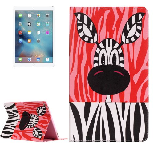 """For iPad Pro 12.9"""" Zebra Pattern Flip Leather Case with Holder"""