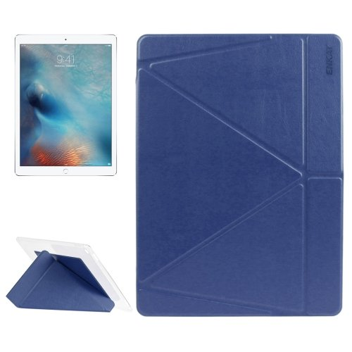 """For iPad Pro 12.9"""" Dark Blue ENKAY Transformers Smart Cover Leather Case with Holder"""