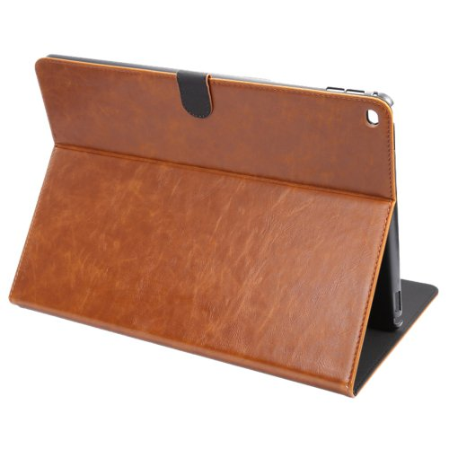 """For iPad Pro 12.9"""" Brown ENKAY Crazy Horse Smart Cover Leather Case with Holder"""