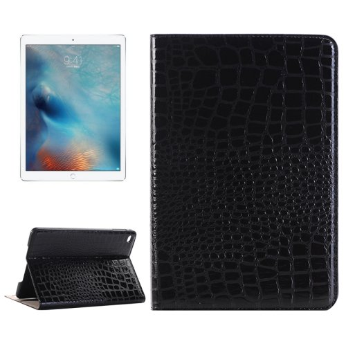 """For iPad Pro 12.9"""" Black Crocodile Leather Case with Holder, Card Slots & Wallet"""