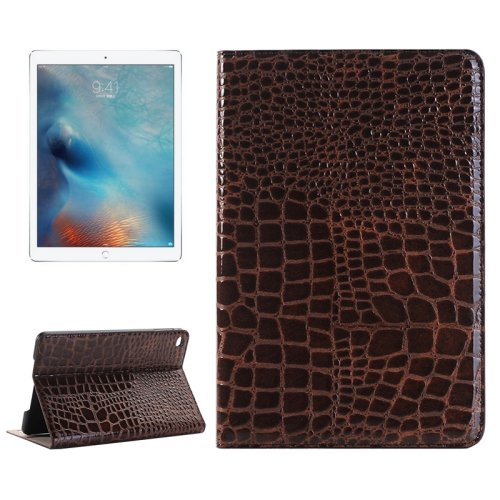 """For iPad Pro 12.9"""" Brown Crocodile Leather Case with Holder, Card Slots & Wallet"""